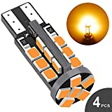 Audak 194 LED Bulb Amber Yellow Super Bright 168 2825 W5W T10 Wedge 30-SMD 2835 Chipsets Error Free for Car Interior Dome Map Door Courtesy License Plate Lights (Pack of 4)