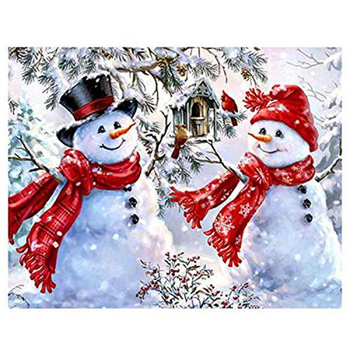 Xigeapg 5D DIY Diamond Painting Winter Diamond Embroidery Snowman Christmas Decorations for Home Rhinestones Pictures Crafts
