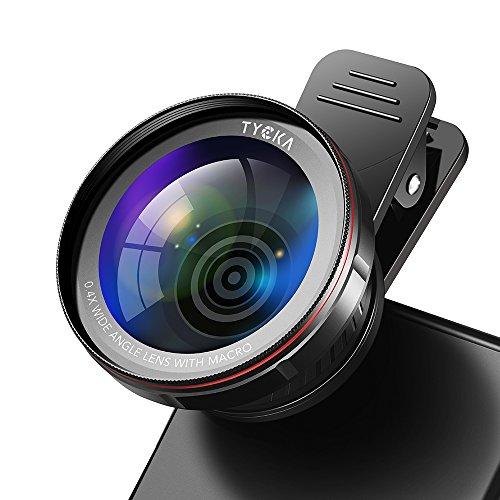 TYCKA Kit Lenti Professionali per Fotocamere, Lente 0,45X Grandangolare 120° Senza alcuna distorsione, Lente 15x Macro, Custodia Portatile e Panno in Microfibra per iPhone Samsung Sony Smartphones