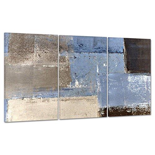 ConKrea QUADRO SU TELA CANVAS - INTELAIATO - PRONTO DA APPENDERE - Pollock Astratto colori Freddi Grigio Azzurro Nero - 100x50cm (cod.2876)