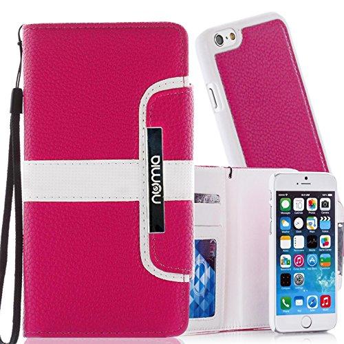 numia Schutzhülle für iPhone 6 Hülle [herausnehmbares Case] PU Leder Tasche iPhone 6S Kartenfach [Pink]