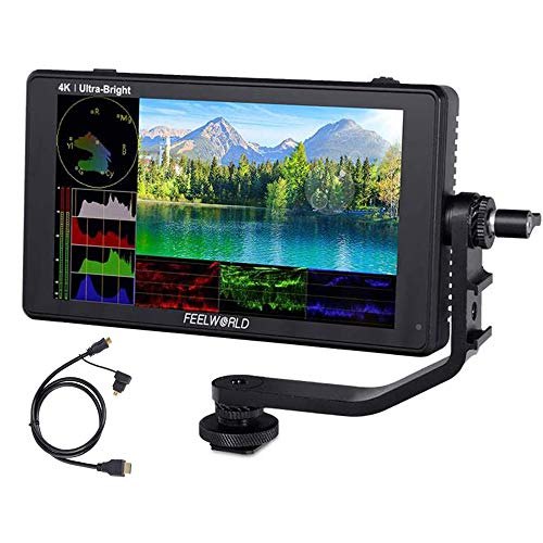 Feelworld LUT6S 6 Inch DSLR Camera Field Monitor HDR/3D LUT Touch Screen,3G-SDI 4K HDMI,2600nits 1920X1080 with Waveform VectorScope Histogram