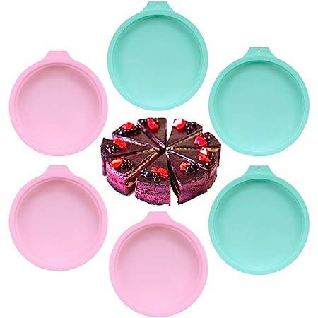 PUDSIRN Lot de 6 moules à gâteau ronds en silicone 15,2 cm 20,3 cm pour fête d'anniversaire, anniversaire de mariage (rose + vert 15,2 cm)