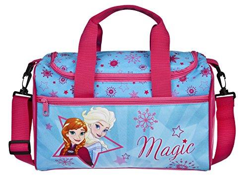 Sporttasche mit Namen | Motiv Frozen | inkl. NAMENSDRUCK | Bedrucken & Personalisieren | Reisetasche Tragetasche mit großem Hauptfach | Eiskönigin Anna & ELSA