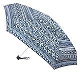 Paraguas Vogue Mini. Pequeño, Plegable, Compacto y Ligero. Estampado étnico. Paraguas Mujer antiviento Llevar en el Bolso, en la Mochilas, en la Maleta. (Azul Oscuro)
