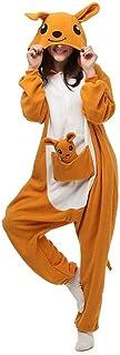 AYJMA Tier Erwachsener Känguru Kigurumi Strampler Pyjama Flanell Cartoon Familienfeier Halloweencosplay Kostüm Nachtwäsche Reißverschluss