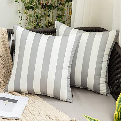 MIULEE - Juego de 2 fundas de almohada decorativas impermeables para exteriores, fundas de almohada lumbar, fundas de cojín modernas...