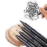 Pawaca ricaricabili calligrafia pen- 4taglie mano Lettering penne nero inchiostro pennello penna set per scrittura, firma, disegno (confezione da 4)
