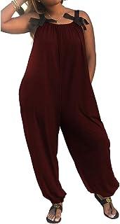 dfe36bff397 YONYWA Women Sleeveless Jumpsuit Harem Pants Plus Size Wide Leg Pants  Rompers Spaghetti Strap Overalls Bowknot