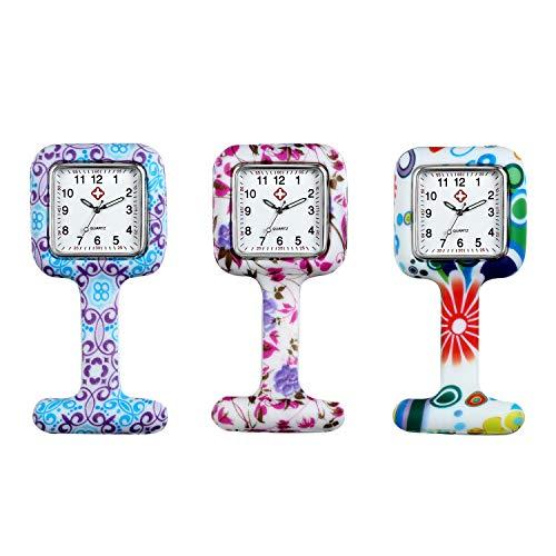 Avaner Reloj de Enfermera Silicona 3 Piezas Reloj Médico de Colores, Cuadrado Reloj Prendedor de Broche de Túnica de Paramédico Doctor, Reloj de Bolsillo (modelo2-3relojes 3 Fundas)