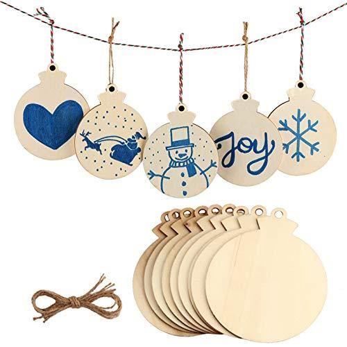 Basteln Weihnachten Holzscheiben Mit SchnüRen Diy Runde Holzscheiben Mit LöChern GeschenkanhäNger Holz Weihnachts HäNgen Ornamente Weihnachtliche Holz Ornamente FüR Neujahr Weihnachtsbaum 50 StüCk