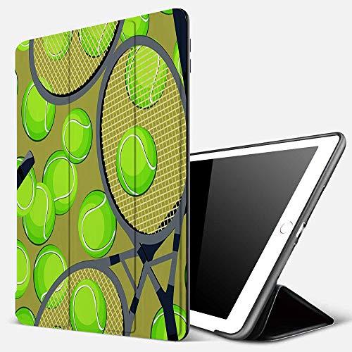 Qinniii Carcasa con Magnetic Auto-Sueño,Patrón de Fondo con Pelotas de Tenis y Raqueta,Ligéra Protectora Suave Silicona TPU Smart Cover Case para iPad 5./6.