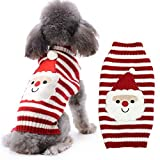 DOGGYZSTYLE Dog Christmas Sweater Xmas Pet Clothes Cute Snowman Reindeer Holiday Puppy Cat Costume New Year Gift for Small Medium Large Dogs (L, Red White Snowman)