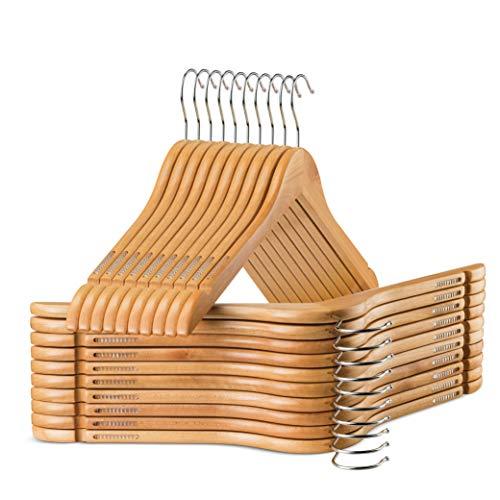 High-Grade Wooden Shirt Hangers with Rubber Grips (20 Pack) (Natural)