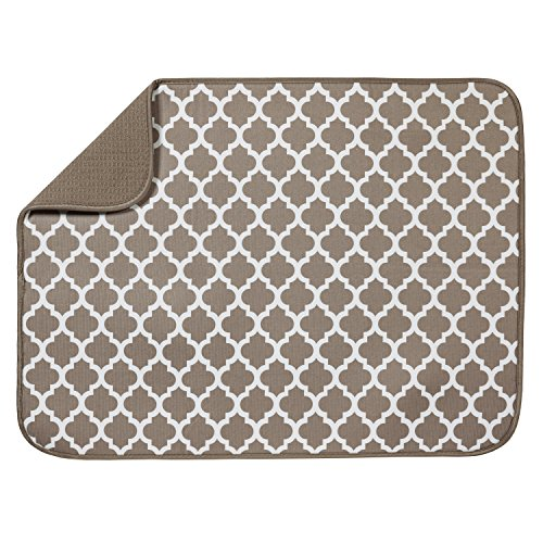 S&T INC. Absorbent, Reversible XL Microfiber Dish Drying Mat for Kitchen, 18 Inch x 24 Inch, Taupe Trellis