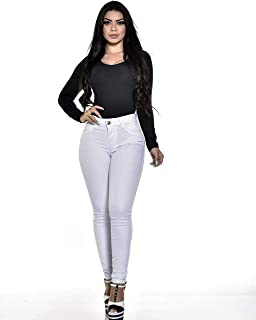 Calça Jeans Feminina Branca Cintura Alta Com Lycra