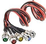 5 PCS LED Indicateur Ampoule, 12V 8mm Feux de Signal Costume Voyant de Lampe LED pour Voiture Camion Bateau et Voiture de Contrôle de Voiture de Modèle