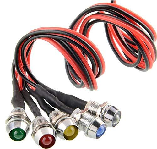 5 Pcs luces del indicador LED piloto, 12V LED indicador luz lámpara Adecuado para automóviles, botes, coches de juguete, modelos de automóviles (Multicolor)