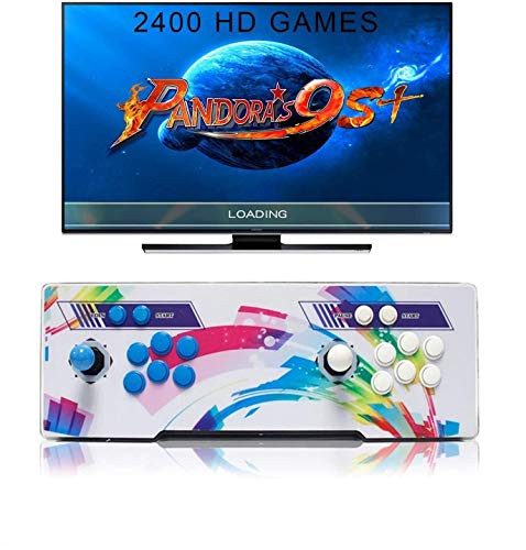SeeKool 2400 Juegos clásicos Consola de Videojuegos, Pandora's Box 9s+ Multijugador Arcade Game Console, 2 Joystick Partes de la Fuente de alimentación HDMI y VGA y Salida USB, Compatible con PS3