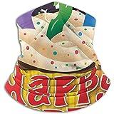 N/A Happy Birthday Cupcake Scarf Neck Warmer Soft Microfiber Headwear Face Scarf Mask para Clima frío Invierno Deportes al Aire Libre