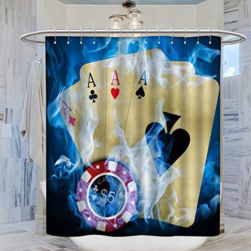 Trelemek Poker Ace Duschvorhang, 183 x 183 cm (72 x 72 Zoll) Wasserdichter Badvorhang mit 12 Kunststoffhaken Waschbarer Badvorhang
