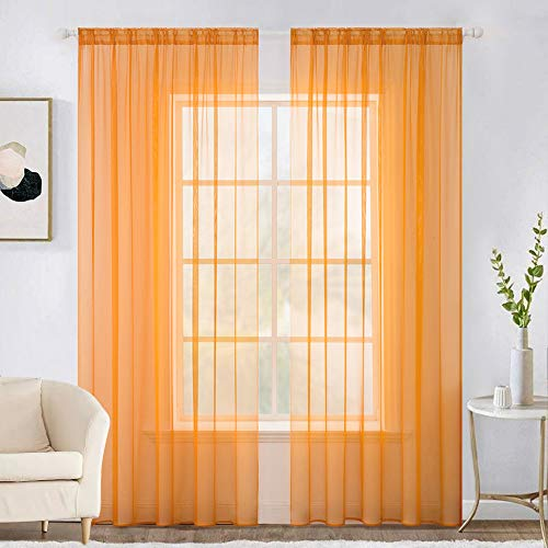 MIULEE 2 Panels Solid Color Sheer Window Curtains Elegant Window Voile Panels/Drapes/Treatment for Bedroom Living Room (54X72 Inches Orange)