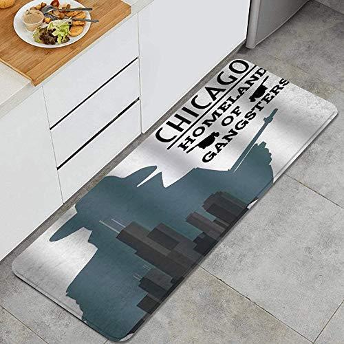 GEEVOSUN Gángster Vintage con Rascacielos de Chicago Patria de la Mafia Alfombrillas de Cocina Antideslizantes Felpudo Lavable Juego de Alfombras de Microfibra