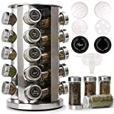 CAM2 Revolving Spice Rack, 20-Jar spice organizer, Countertop Spice Rack tower, Stainless Steel, For Kitchen Cabinet Organizer (Black Labels)