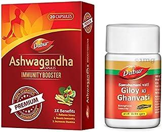 Dabur Ashwagandha Capsules 20 capsules With Dabur Giloy Ghanvati 40 tablet (Combo Pack )
