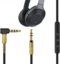 Esimen Microphone Audio Cable for Sony WH-1000XM3 WH-CH700N WH-H900N WH-1000XM2 /Beats Solo 3 /Skullcandy Hesh 3 Headphones 4.9 inches,fit Android Apple Device 3.5mm - 3.5mm Male to Male (Black+Gold)