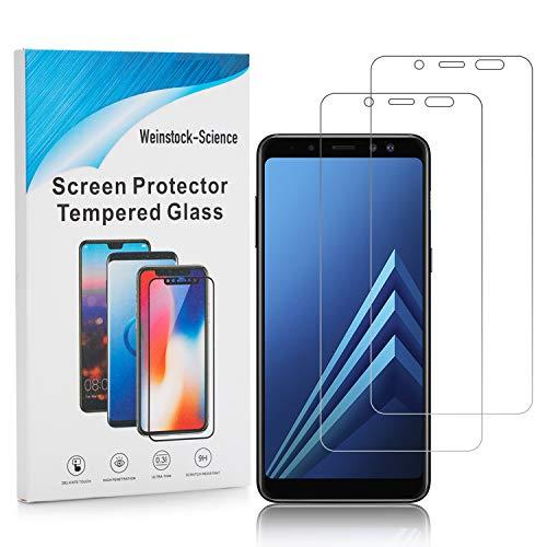 Weinstock-Science | 2X bruchsicheres Schutzglas für Samsung Galaxy A8 2018 | Schutzfolie aus 9H Echt Glas