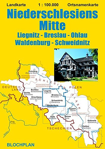 Landkarte Niederschlesiens Mitte: Liegnitz - Breslau - Ohlau - Waldenburg - Schweidnitz; im Maßstab 1:100.000 (Schlesien-Landkarten)