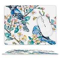 Watercolor Tree Blue Jay On Flowering Blossom デスクマッ ト マウスマット ゲーミングマウスパッド キーボードマット PC机 マット超大型 革 防水 滑り止め レーザー 光学式マウス ゴムファッ