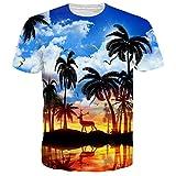 UNIFACO Men Womens Casual 3D Printed Colored Graffiti T-Shirts Short Sleeve Tops Tees M