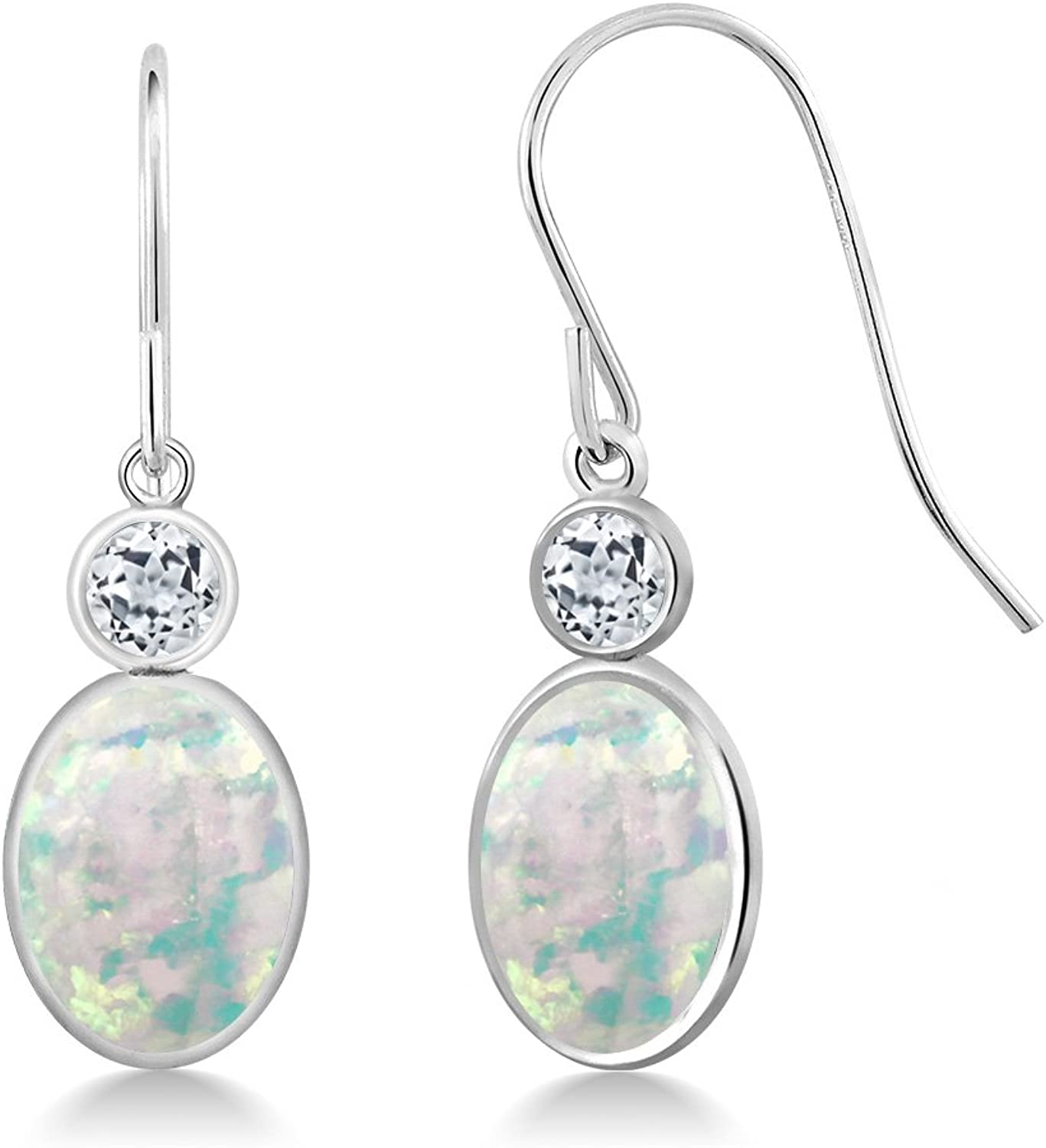 2.38 Ct Oval Cabochon White Simulated Opal White Topaz 14K White gold Earrings