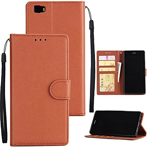Teléfono Flip Funda Shell Caja de la billetera para Huawei P8 Lite, Funda de cartera de cuero PU Premium PU [Correa de muñeca] Flip Folio con Bolsillos de identificación y tarjeta de crédito para Huaw