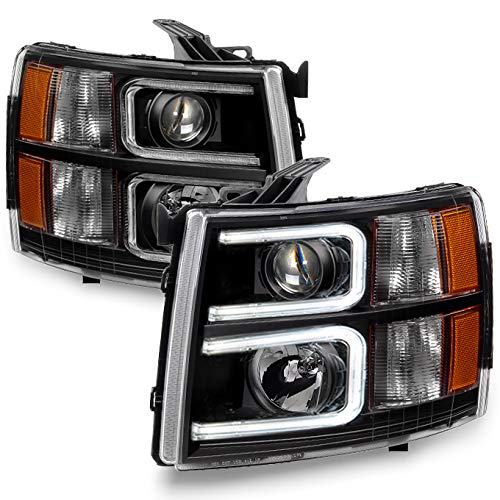 For 2007-13 Chevy Silverado 1500 | 2007-14 2500HD 3500HD LED C-Shape Tube Black Bazel Projector Headlights Pair Set