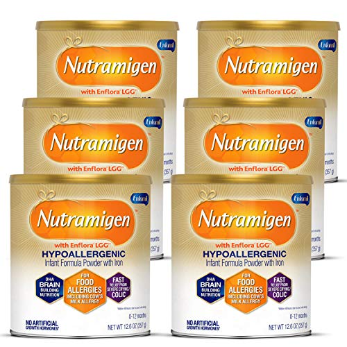 Enfamil Nutramigen Infant Formula, Hypoallergenic and Lactose Free Formula with Enflora LGG, Fast Relief from Severe Crying and Colic, DHA for Brain Support, Powder Can, 12.6 Oz (Pack of 6)