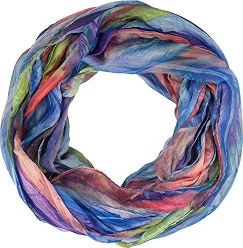 fashionchimp ® Loop Schlauchschal für Damen mit Feder-Muster in Batik Style, Crash and Crinkle, Seide, Schal (Blau-Bunt)