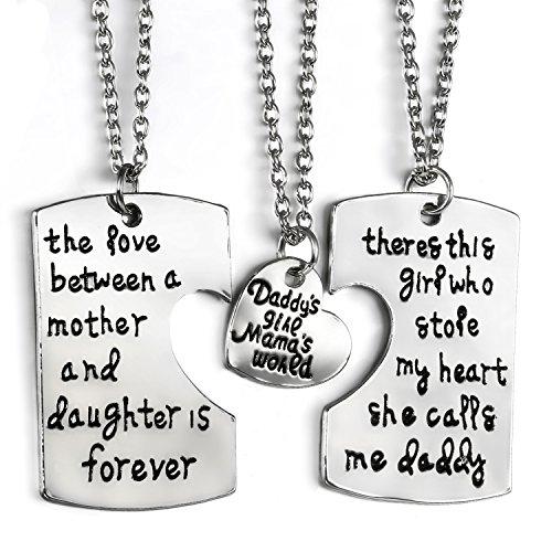 JewelryWe Juego de Collares para Familia, Colgante de Placas Grabadas para Padre Madre e Hija Collar de Mensajes Original, Buen Regalo para Día del Padre/Madre/Niño