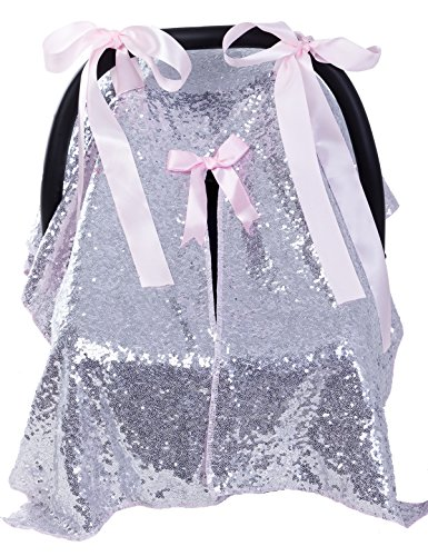 Multi-Use Baby Car Seat Cover Nursing Covers Breastfeeding Cover Carseat Canopy for Baby Shower Gift Silver