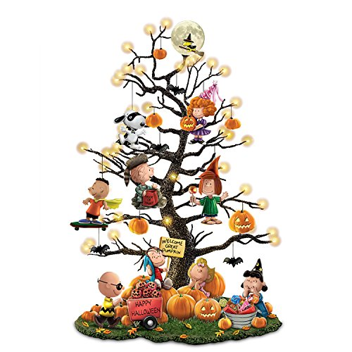 Illuminated Halloween Tabletop Pumpkin Tree with Ornaments
