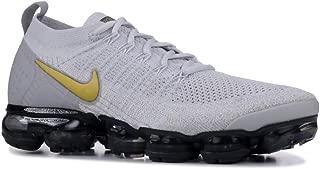 Nike Women's Air Vapormax Flyknit 2 Running Shoes (11, Grey/Gold)