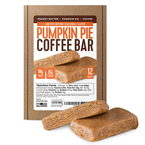 Protein Coffee Energy Bar, Made with Five Simple Ingredients, All Natural, Gluten Free, Non GMO & 16g of Protein, Made with Real Coffee (Pumpkin Pie - Caffeinated)