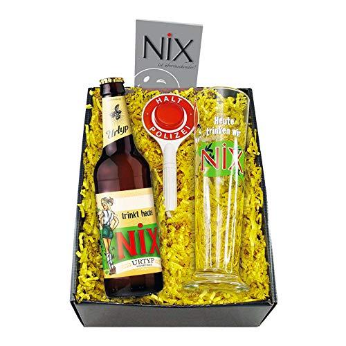 Monsterzeug Nix im Glas, Geschenkset mit Bier, Pilsglas und Polizeikelle, Lustiges Biergeschenk für Männer, Scherzartikel