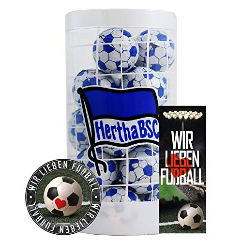 BSC Berlin Hertha Schokokugeln, Schokofussbälle, Schokoladen Kugeln Plus je 1 x gratis Aufkleber & Lesezeichen