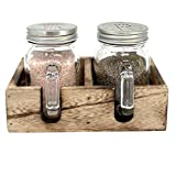 Mason Jar Salt and Pepper Shaker Set with Wood Caddy for Farmhouse Kitchen Decor and Rustic Vintage Home Decoration Gift