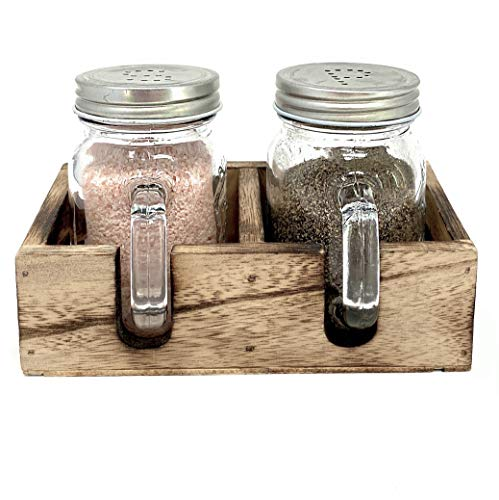 Mason Jar Salt and Pepper Shaker Set with Wood Caddy for Farmhouse Kitchen Decor and Rustic Vintage Home Decoration