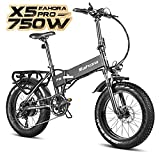 Eahora X5 750W Folding Fat Tire Electric Bicycle 48V 10.4ah Commuter Electric Bike for Adults Full Suspension, 20 Inch Ebike with Power Regeneration, Electric Lock, Shimano 7 Speed Gears