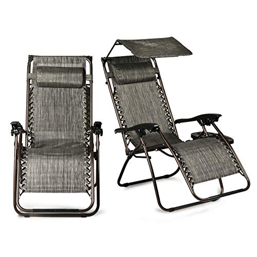 Lares & Penates Set of 2 Gray Zero Gravity Folding Patio Lounge Chair with Cup Holder and Canopy Sun Shade, Recliner Chairs for Poolside, Beach, Garden, Backyard, Outdoor Furniture